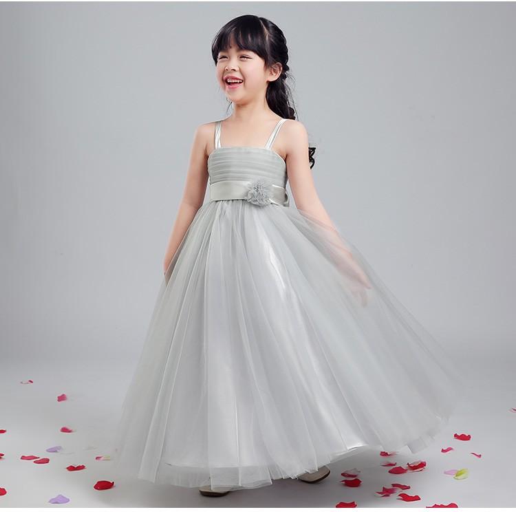 Скидки на Платье принцессы 2016 новый цветок девочки платья длиной до пола без бретелек бальное платье девушки театрализованное платье для свадьбы партии выполняют