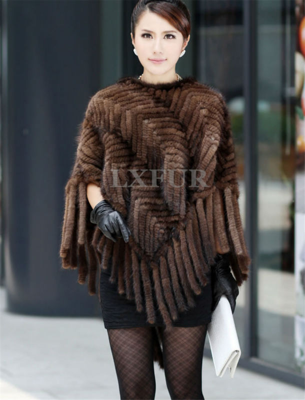 Classic Real Knitted Mink Fur Shawl with Hoody Elegant Womens Casual Hoody Poncho Knitted Mink Fur Cape with Tassels LX00034(China (Mainland))