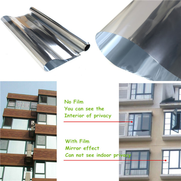 Lowest Price Mirror Silver 20% Solar Reflective Window Film One Way Privacy Tint 50cm x 2m High Quality(China (Mainland))