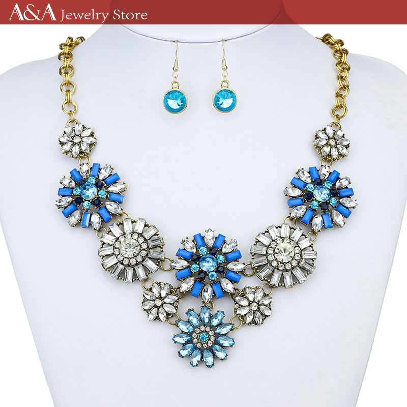 Statement Necklaces Colorful Crystal Pendants Necklaces For Women Luxury Jewelry Brand A&A Jewelry(China (Mainland))