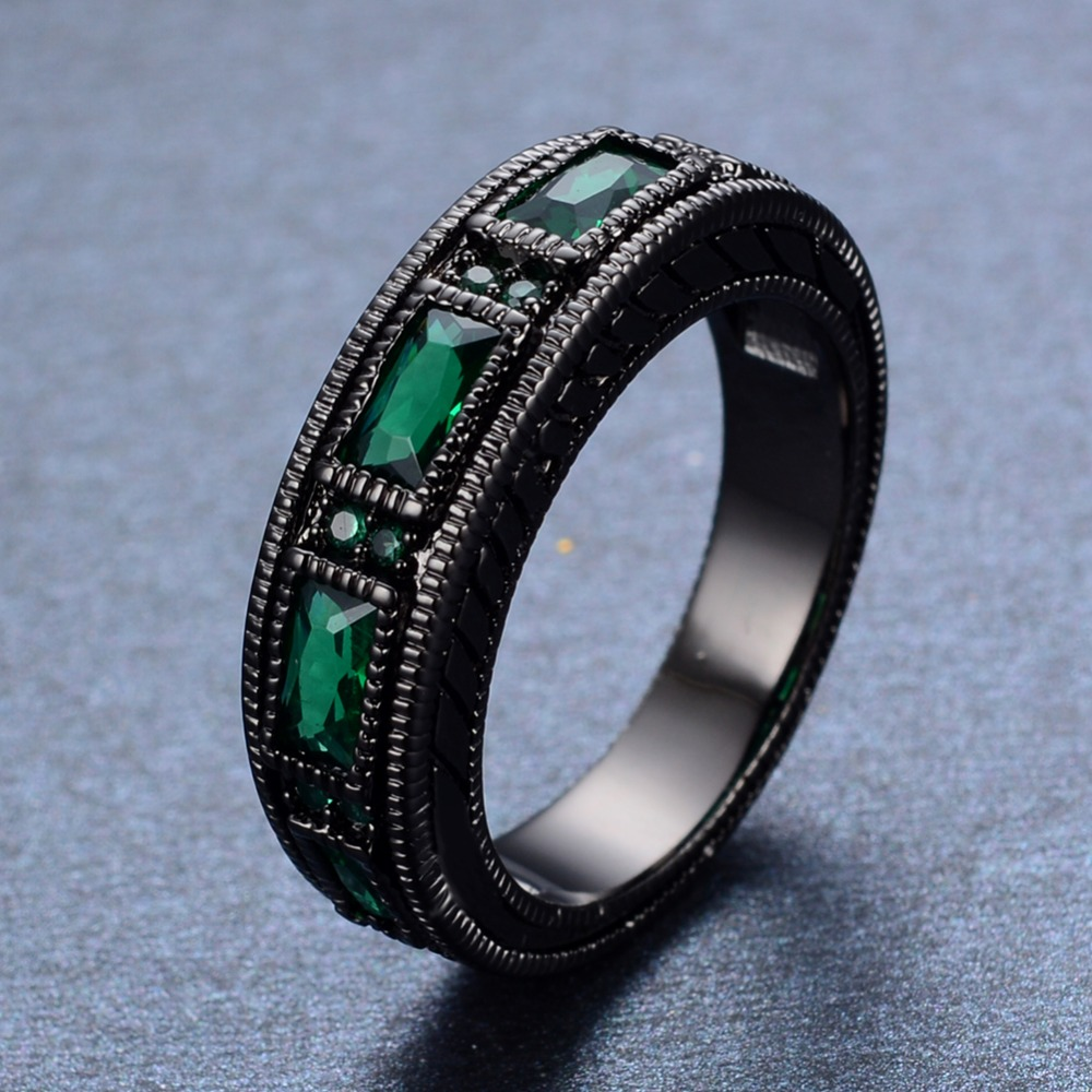 vintage mens ring emerald zircon 10kt black gold filled. Black Bedroom Furniture Sets. Home Design Ideas