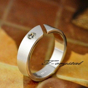 Thick 18k rose gold wedding ring scrub with a diamond ring pinky ring lovers ring male Women