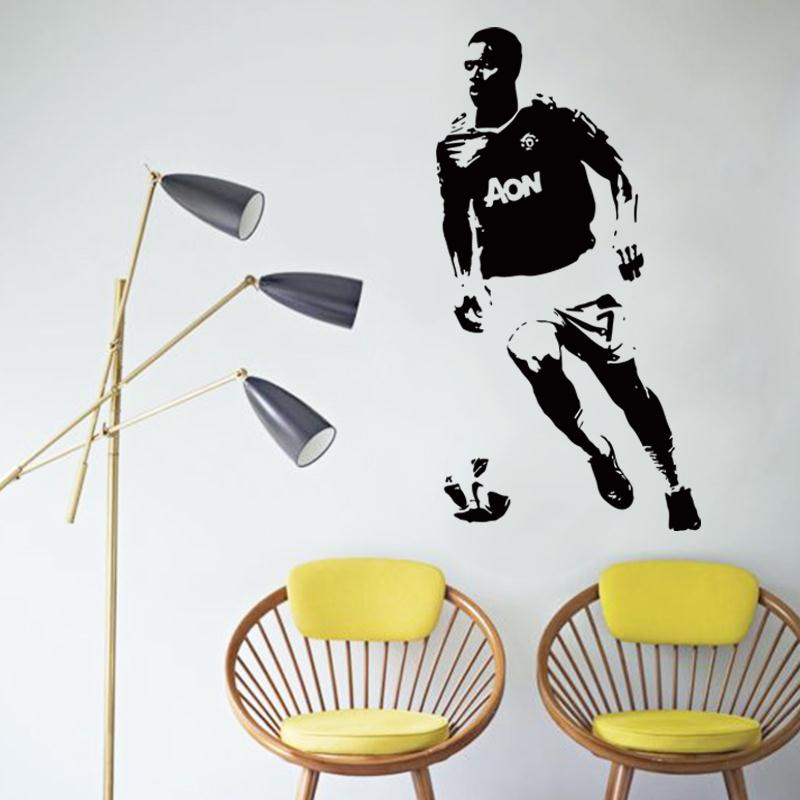 Art design cheap vinyl home decoration football player Antonio Valencia wall sticker removable house decor soccer sports decals(China (Mainland))
