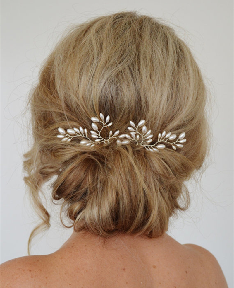 1PC Wedding Hair Accessories Bridal Hairpins Clips Pearl Hair Stick Pin Fork for Women HG382(China (Mainland))
