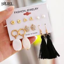 SMJEL 2019 longues boucles d'oreilles gland mode bijoux ensembles cristal infini boucles d'oreilles de mariage Brial oreille femmes accessoires(China)