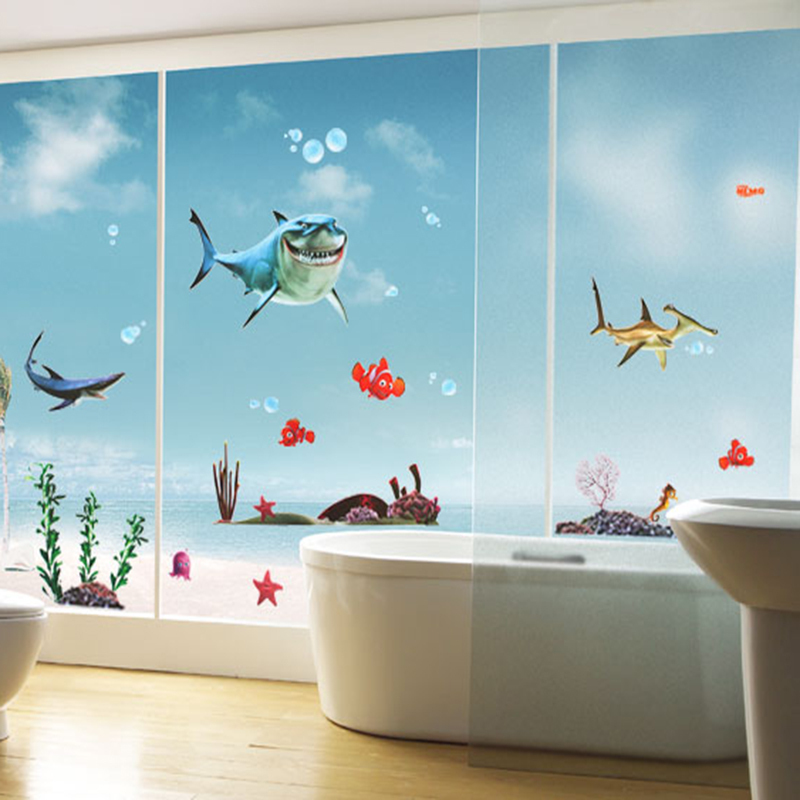 Hot sell favorite kid 39 s nemo shark sticker waterproof for Decoration autocollant mural