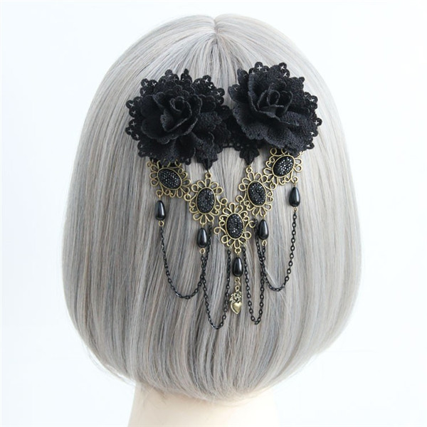Para Cabelo Vintage Gothic Black Lace Flower Headband Hair Clips For Women Stone Tassels Fashion Jewelry Acessories(China (Mainland))