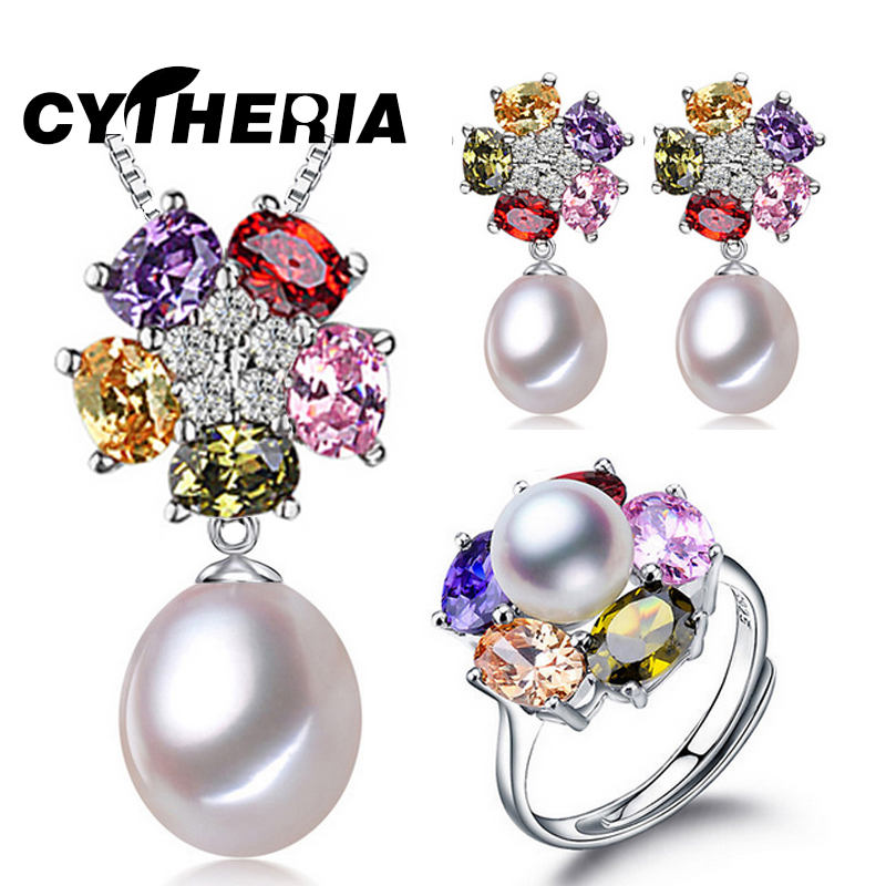 CYTHERIA Jewelry set, 100% real natural freshwater pearl jewelry gifts for women,pendant & earrings & ring ,gift box,2016 new(China (Mainland))