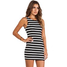 Buy 2017 Women sexy summer dress sleeveless bow tie backless black white striped print fashion slim short tight dresses sale S1 for $10.57 in AliExpress store