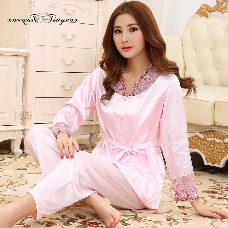 2016 New soft night clothes sexy embroidery hollow out lace v neck full sleeve women pijama summer ladies Sleep & Lounge wear(China (Mainland))