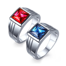 Buy Male Stainless Steel Ring Blue Red Stone Jewelry Ring Men Wedding Engagement Titanium AAA+ Cubic Zirconia Ring Wholesale for $3.97 in AliExpress store