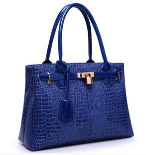 Free shipping 2015 new European and American fashion casual shoulder bag glossy patent leather crocodile pattern handbag(China (Mainland))