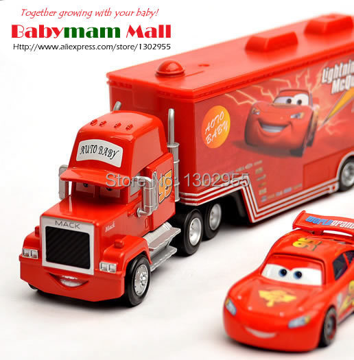 PIXAR CARS 2 -100% Original Mack truck + Mcqueenes #95 (1set) Loose Rare Diecast 1:55 kids toys for children,baby toy brinquedos(China (Mainland))