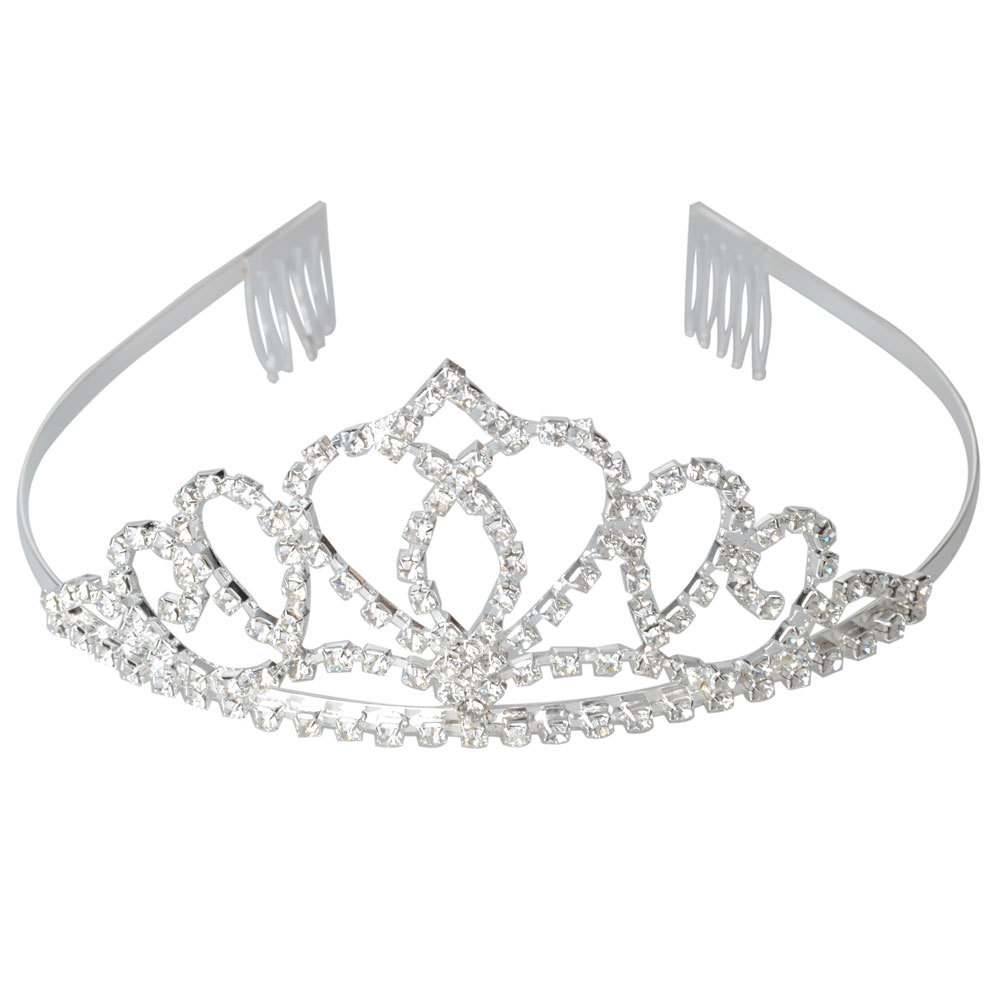Bride Peach Heart Rhinestone Wedding Crown Hair Clip Headband Silver White 35 Free Shippiing(China (Mainland))