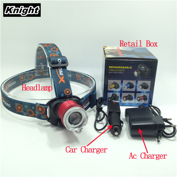 Headlamp 2000LM Rechargeable CREE R5 LED Head  Headlight Outdoor Built-in Battery +AC/Car charger 3 model<br><br>Aliexpress