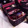 Women Cosmetic Bags Case High Quality Solid PU Leather Makeup Box With Diamond 3 layer Professional