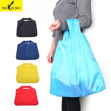 Portable folding shopping bag Large nylon bags Thick bag Foldable Waterproof ripstop Free shipping(China (Mainland))