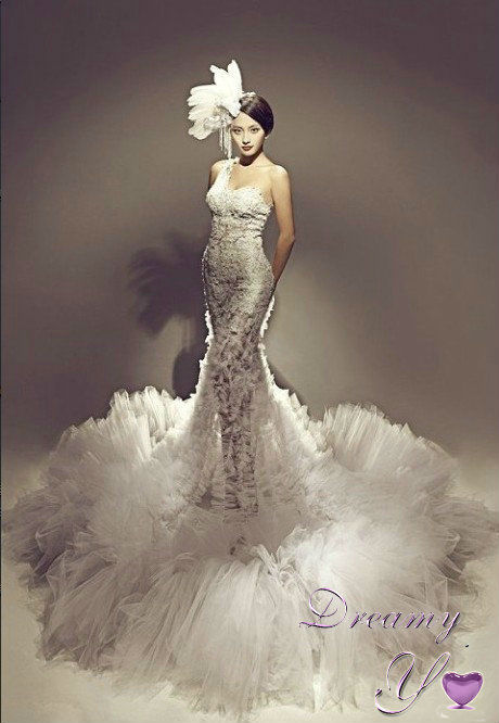 Luxury One Shoulder Lace Applique Ruffles Tulle Mermaid Wedding Dress 2015 In