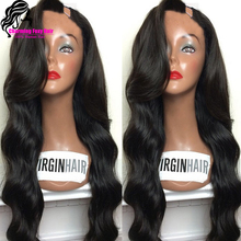 7A unprocessed virgin peruvian u part wig body wave u part human hair wigs with side bangs left side upart wigs for black women(China (Mainland))