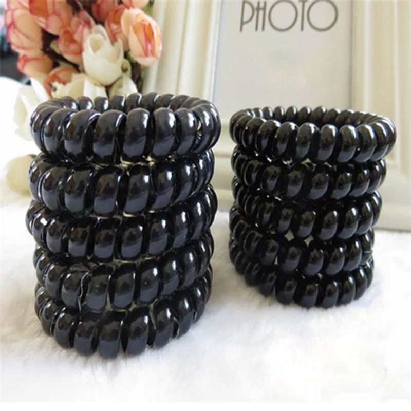 50Pcs Women Black Elastic Hair Bands Telephone Wire Style Hairband Hair Ties & Plastic Rope Headbands Accessory For Hairband(China (Mainland))