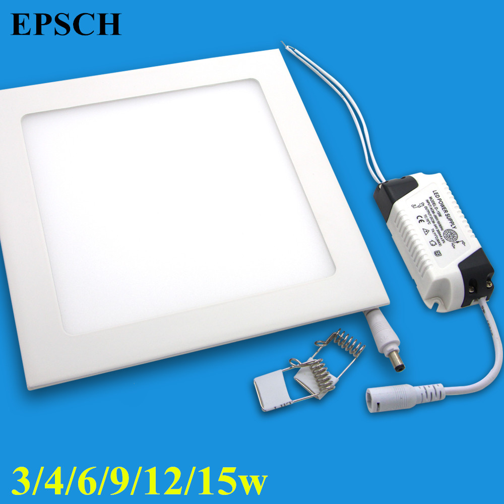 Free Shipping NEW Hot Ultra Thin Design 4W 6W 9W 12W  LED Surface Ceiling Recessed Grid Downlight / Square Panel Light<br><br>Aliexpress