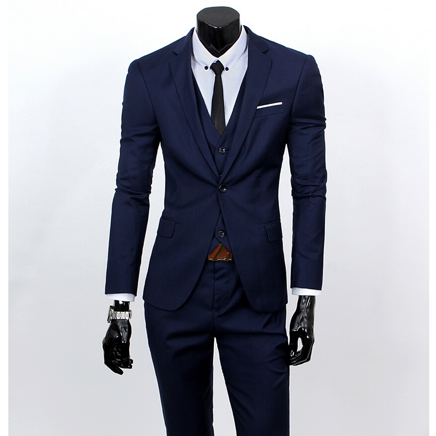 2015 New style mens wedding suits fashion business slim one-buckle slim mens dress suit casual three-piece suit 9colors S-3XLОдежда и ак�е��уары<br><br><br>Aliexpress