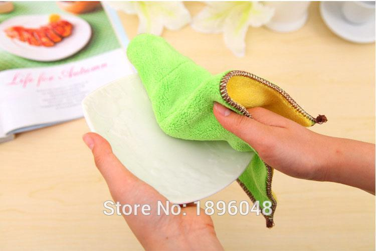 1Pcs Soft Microfiber Absorbent Washing Dish Bowl Cloth Kitchen Clean Towels(China (Mainland))