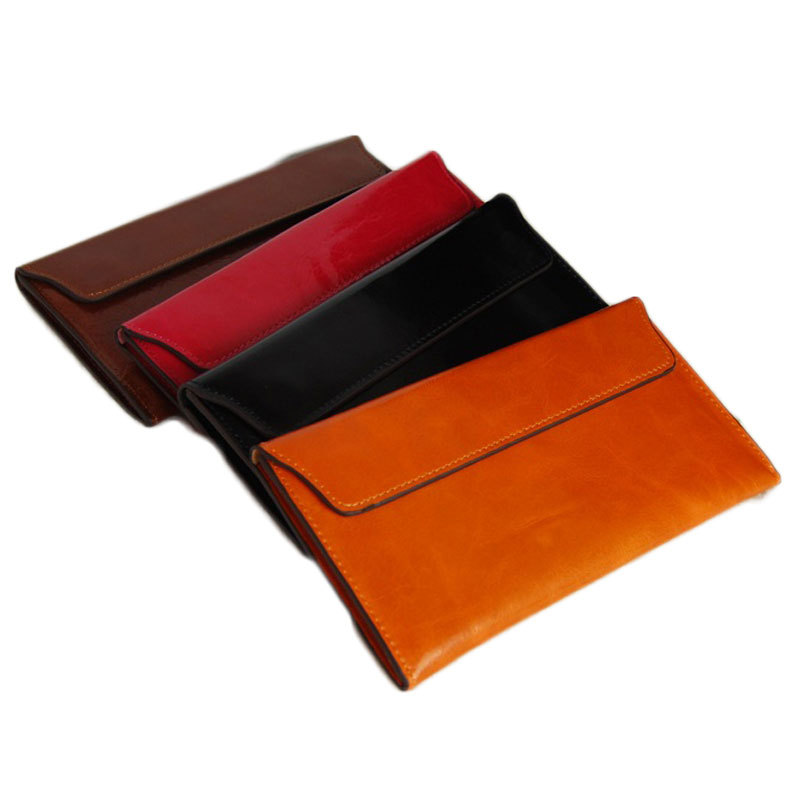 Vintage Wallet Female Mens Slim Wallet Unisex Genuine Leather Purse Women Leather Portefeuille Homme Card Slot Ladies 4 Color(China (Mainland))