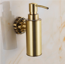 New Wall Mounted Carving Antique Bronze Finish Brass Material Soap Dispenser /Bathroom Accessories Liquid Soap Dispenser Pump(China (Mainland))
