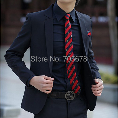 casual work wear men's slim business suits navy blue S M L XL XXL XXXL / luxury brand - Shenzhen ligo Technology Ltd store