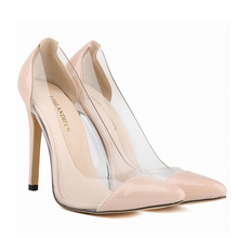 2016 Spring Autumn Women Europe Transparent Sides Pointed Toe Thin High Heel Pumps Clear Shallow Mouth Wedding Shoes SW414