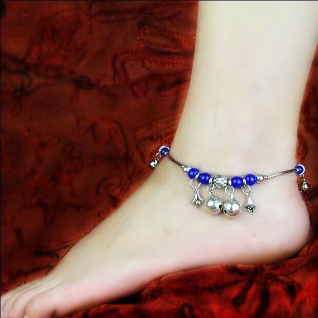Винтажный стиль ручной работы синий агат компактный Bell кулон ножные браслеты до ...