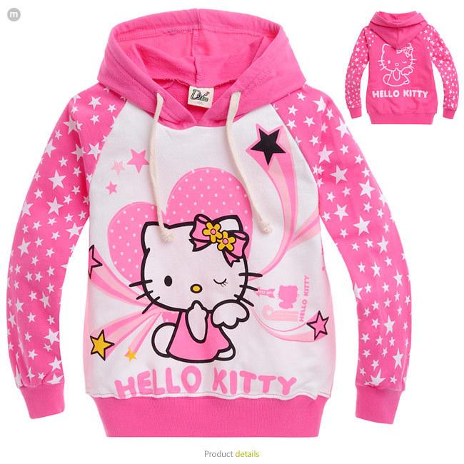 2015 new autumn Hello Kitty girls clothes long sleeve children hoodies kids clothing sweatshirts 2-10age girl(China (Mainland))