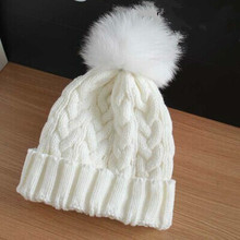 New fashion lady skullies beanies knit winter hat cap women with real mink fur pompon balls free shipping