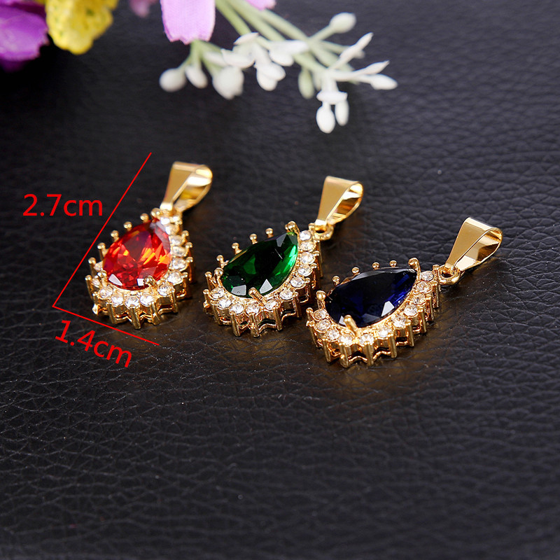 Color Blue Green Red Crystal Water Drop Pendant Necklace Rhinestone Crystal Gold plated Women Bridal Jewelry Factory Price(China (Mainland))