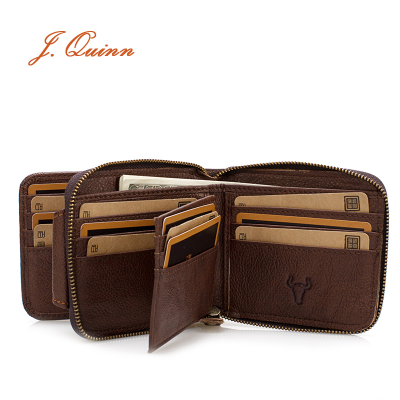 J.Quinn Genuine Leather Men Wallet Zipper Mens Black Short Casual 22 Cards Holder Brown Small Designer Wallets Man High Quality(China (Mainland))