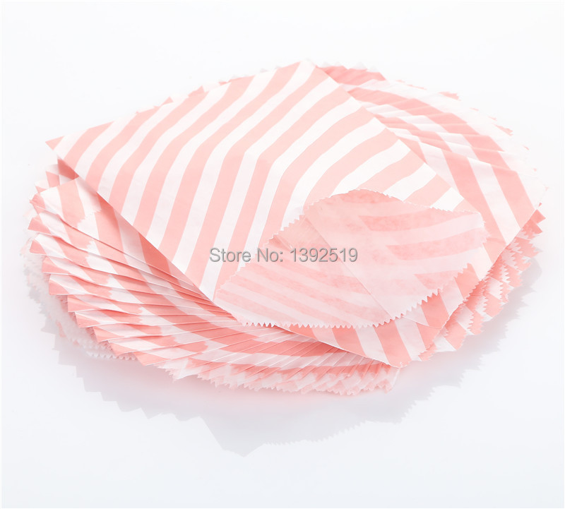 Free Shipping 500pcs Kids Coloured Goodie Gift Favor Buffet Paper Party Candy Treat Bags Pink Diagonal Striped MIX 103 Colors(China (Mainland))