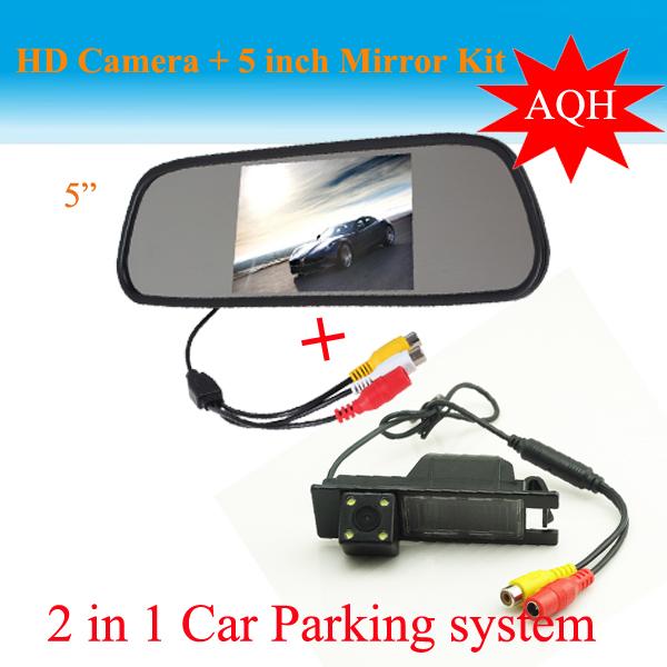 """2 in1 Parking Camera + 5"""" car monitor mirror + CCD HD car rear view parking camera For Opel Vauxhall Vectra Astra Zafira Vivaro(China (Mainland))"""