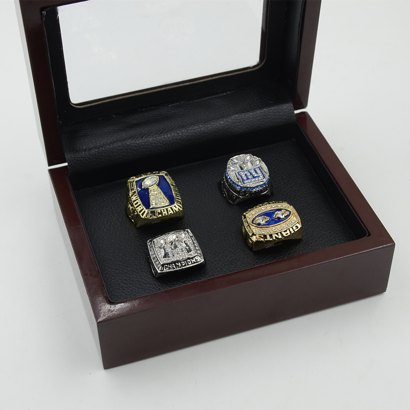 One set Alloy Rings (4PCS) New York Giants Championship Ring 1986 1990 2007 2011 Replica Super Bowl Football Rings Men HC50(China (Mainland))