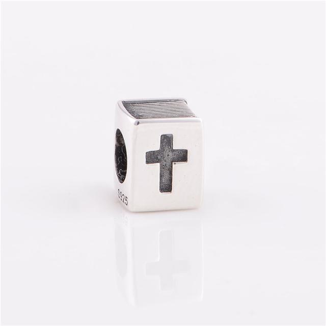 Стерлингового серебра 925 бусины библия с пересекает религиозных оригинальный подвески женщины ювелирные изделия DIY подходит Chamilia подвески браслет ожерелье