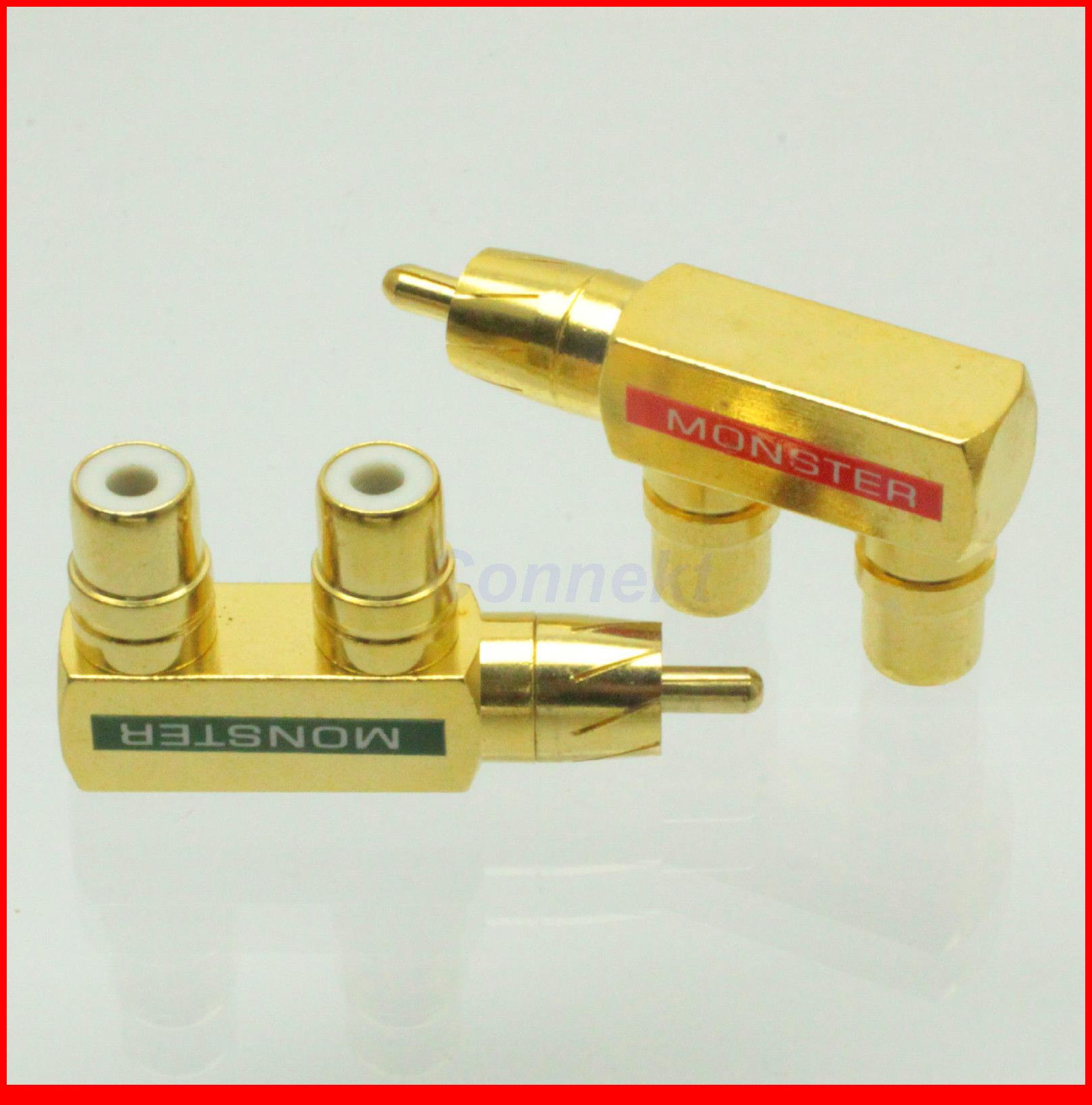 5pcs/lot 1 pair RCA AV Audio Splitter Plug Adapter 1M2F 1 Male to 2 Female F type golden<br><br>Aliexpress