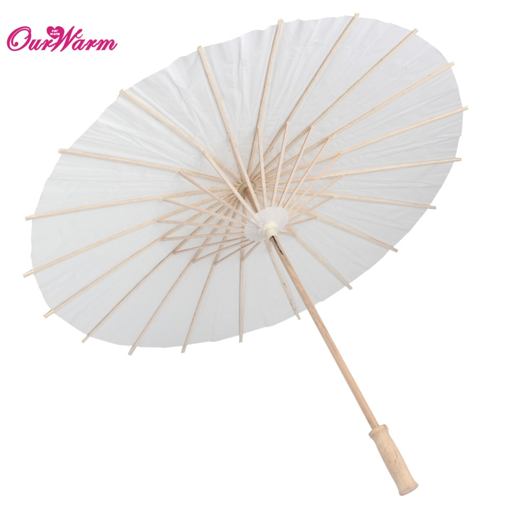 White Paper Parasol Wedding Party Photography Prop Paper Umbrella wooden 15cm 20cm 30cm(China (Mainland))