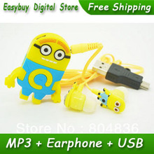 1 pcs/lot New Style High Quality Mini Despicable Me Cartoon Anime Shaped Card Reader MP3 Music Players With Earphone&Mini USB(China (Mainland))