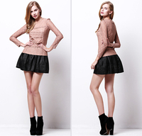 2014 Spring elegant long sleeve blouse for women with lace , white/black /khaki color, size S/M/L/XL