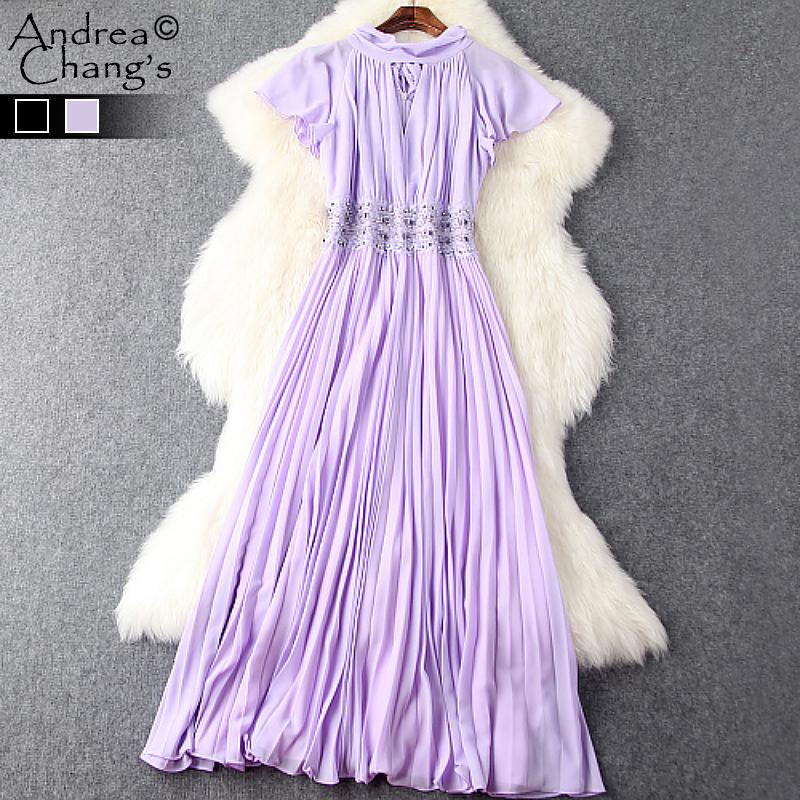 spring summer runway designer womens dresses black lavender ankle long pleated dress beading waist vintage brand event dress(China (Mainland))