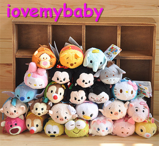 TSUM TSUM Mini Plush Toy Tinker Bell Big Hero Figaro Cat Oswald the Lucky Rabbit Pinocchio Bullseye Heffalump Phone Wipe New(China (Mainland))