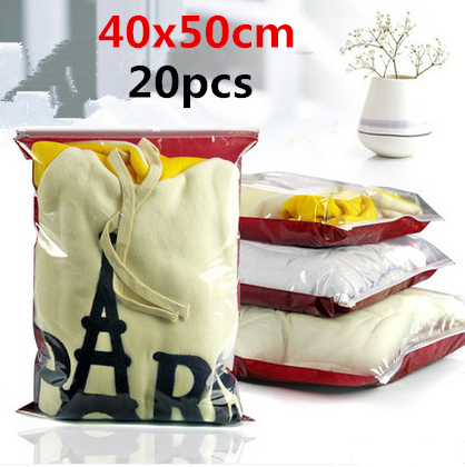 40x50cm 20pcs Reclose front clear plastic packaging bag/ Thicken packaging pouch high transparent material for Appearance bright(China (Mainland))