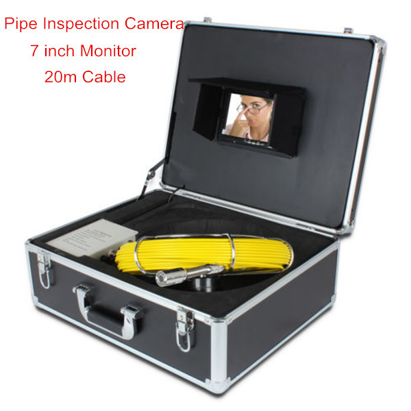 """20m cable sewer pipe inspection camera system, 7"""" LCD monitor sewer pipe inspection(China (Mainland))"""