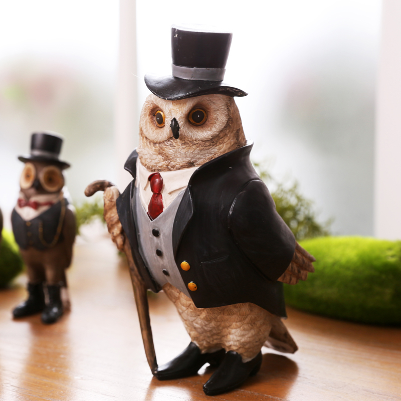 Personated Resin Owl Gentleman Sculpture Vintage Novelty Present Craft Ornament Accessories for Home Decoration and Father's Day(China (Mainland))