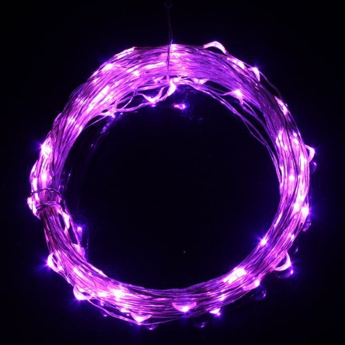 12V 10m/33Ft Purple Copper Wire LED Starry Lights Festival Christmas Wedding Halloween Includes Power Adapter With 100 Leds(China (Mainland))